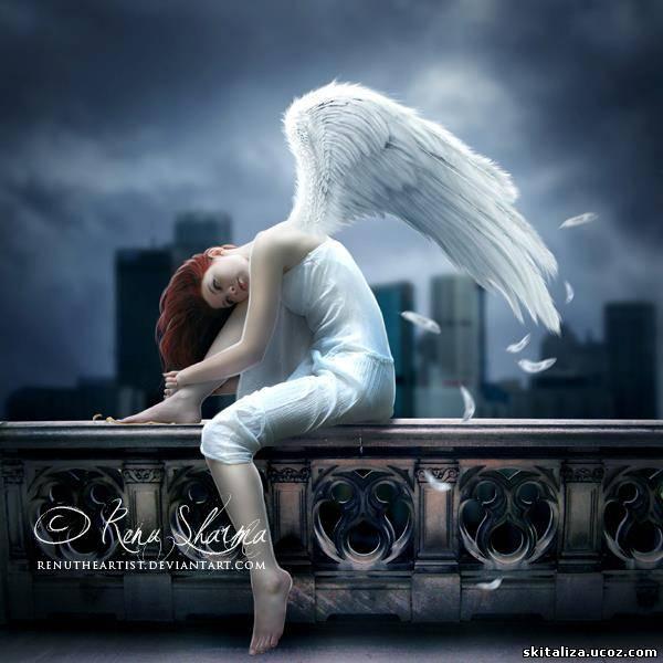 Фото девушка ангел сидит на перилах балкона, арт thedarkrayn.